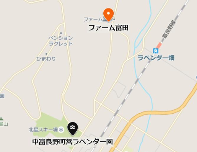 中富良野町営ラベンダー園の地図