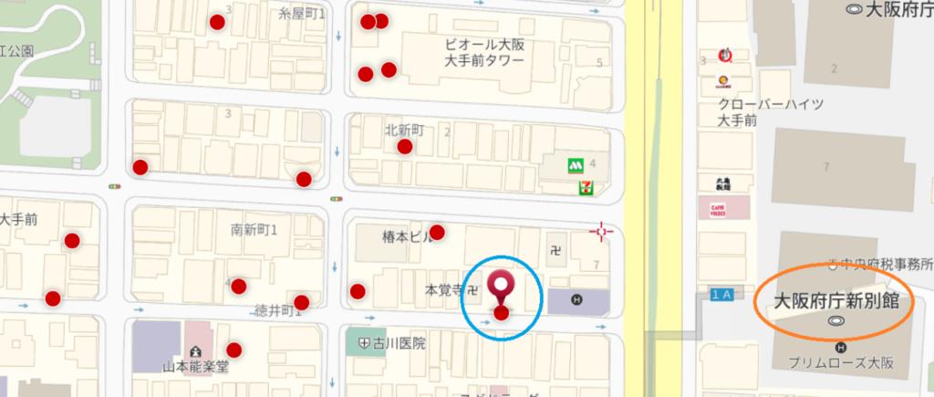 パスポートセンターとその近くの駐車場の地図 ダイヤパーク徳井町