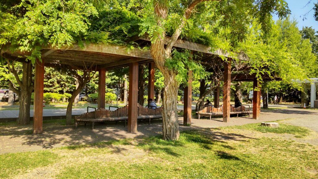 中島公園のベンチ